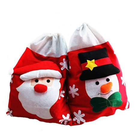 Christmas Gift Bags Non-woven Fabric Candy Sweet Treat Bags for Christmas Decoration (Snowman Type)