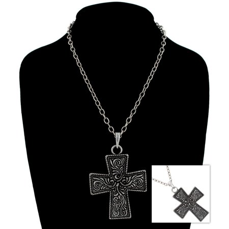 Antiqued Silver Tone Big Chunky Cross Scrollwork Pendant Necklace