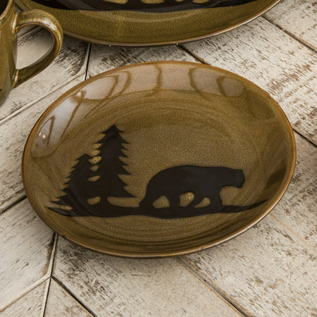 Moose Stoneware - Moose and Bear Lodge Stoneware Bear Salad Plate - Cabin  Kitchen Tableware