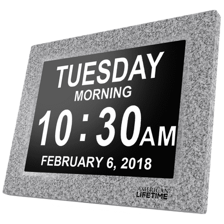 [Newest Version] American Lifetime Day Clock - Extra Large Impaired Vision Digital Clock with Battery Backup & 5 Alarm Options - Grey Marble