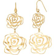 14kt Gold-Plated Sterling Silver Rose Shape Cut-Out Dangle Earrings