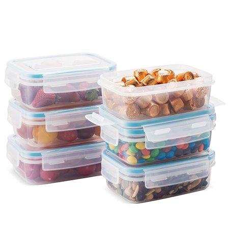 Komax Biokips Food Storage Snack Container 15oz. (set of 6) - Airtight, Leakproof With Locking Lids - BPA Free Plastic - Microwave, Freezer and Dishwasher Safe - Small Size to -