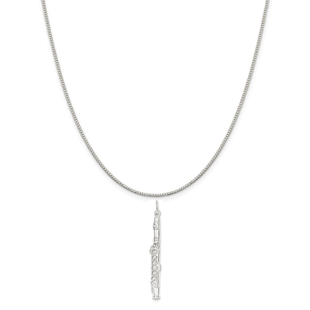 """Sterling Silver Flute Charm on a Sterling Silver Box Chain Necklace, 18"""""""