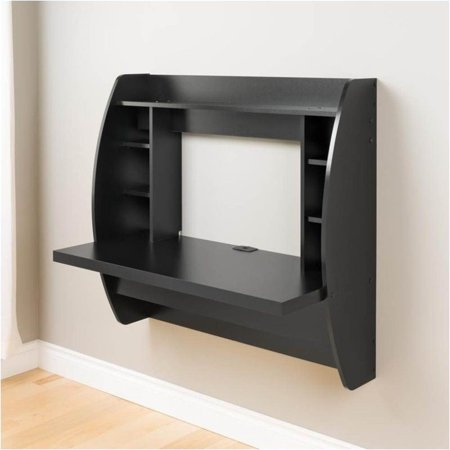 Pemberly Row Floating Computer Desk with Storage in Black - image 2 de 5