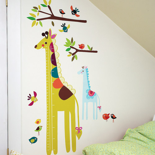 Wallies - Wall Play Giraffe Growth Chart Vinyl Peel and Stick Decor