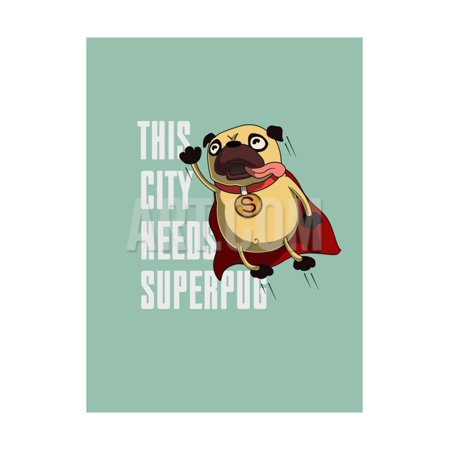 Funny Cartoon Character Pug Design for Tee. Pug Flying in the Sky. Pug Puppy Superhero. Design for Print Wall Art By Just_Draw - Puppy Superhero