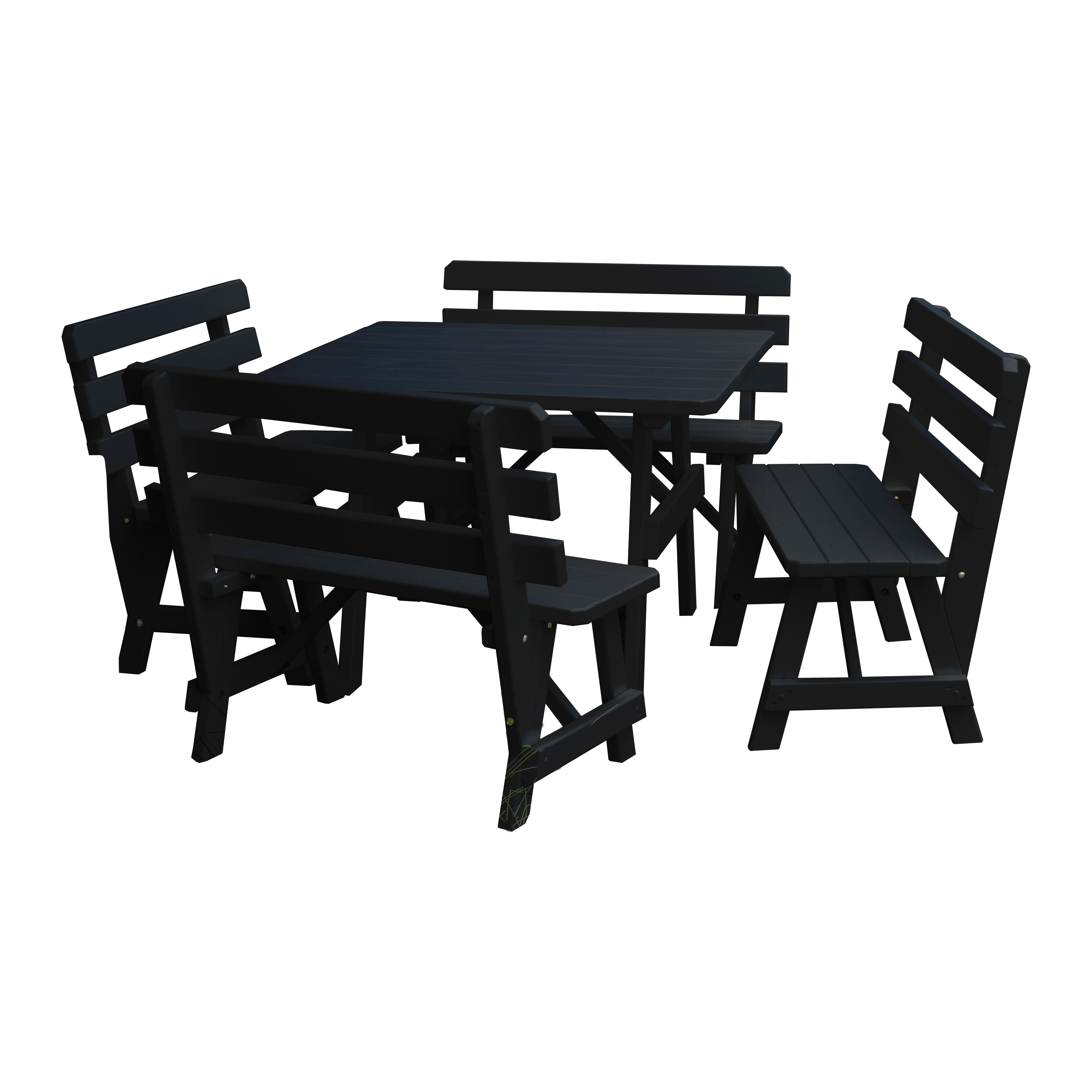 A & L Furniture 43 In. Sq. Wooden Picnic Table With 4 Backed Wooden