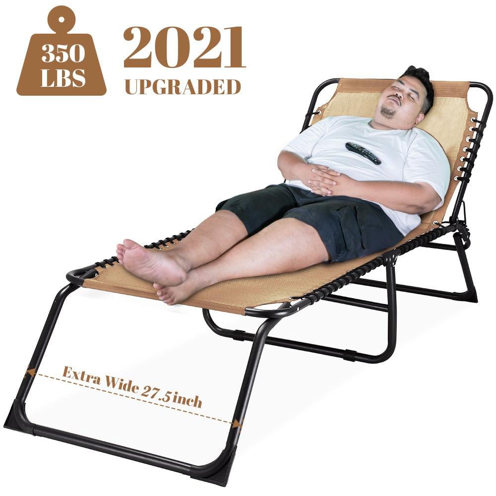Outdoor Folding Chaise Lounge Super Wide 27 5 Inch Xl Size Sunbathing Recliner Lay Flat Sleeping Bed Cot Walmart Com Walmart Com