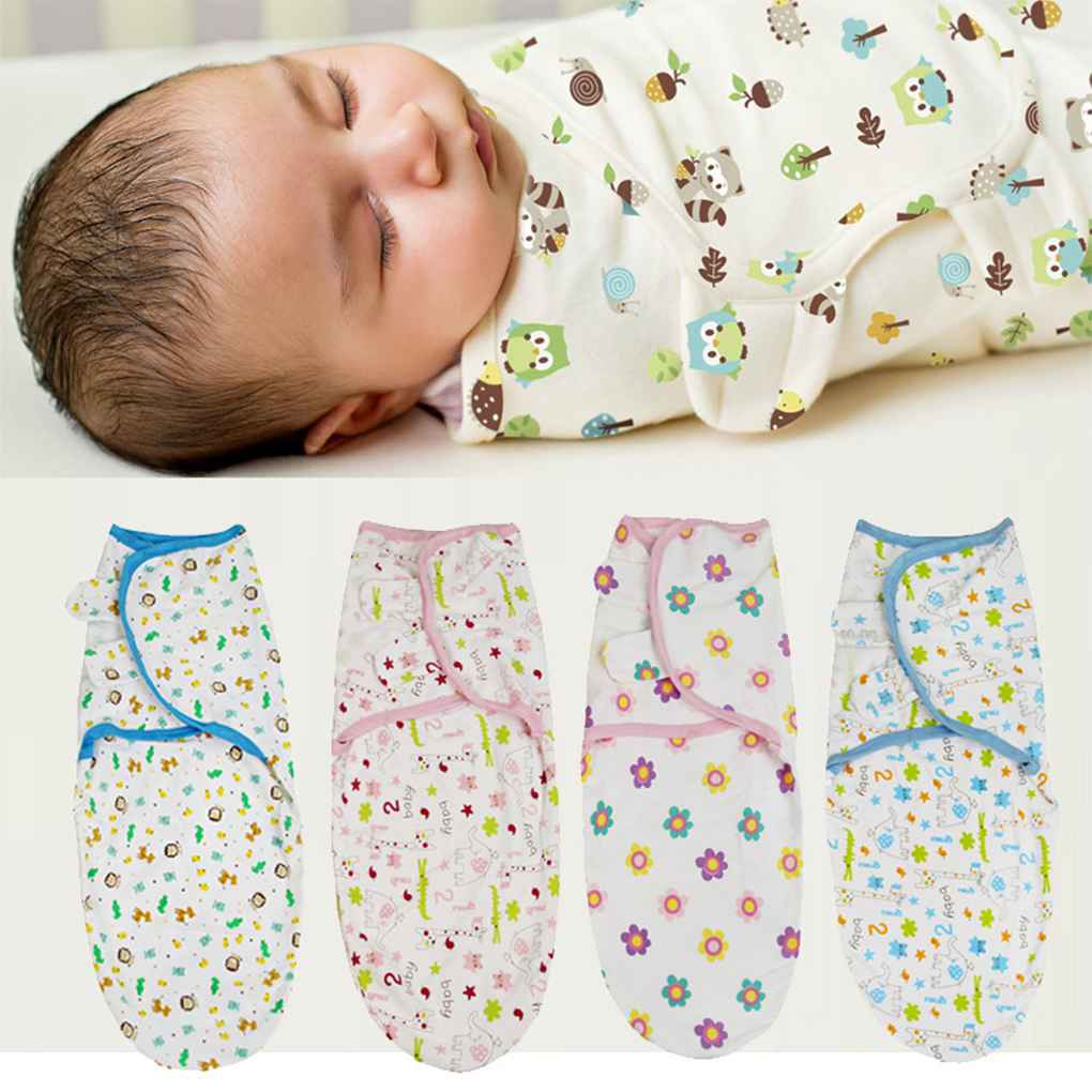 Newborn Baby Cartoon Swaddle Wrap Infant Cotton Receiving Blanket Sack Bag Toddler Sleepsack Swaddler 62x28cm