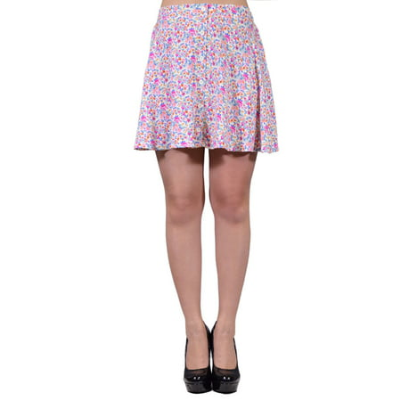 Lush Off White Pink Petite Granny Floral Print A Line Skirt With Buttons](Granny Suit)