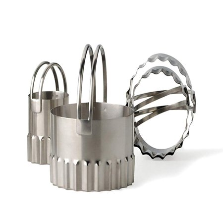 RSVP Stainless Steel Round Biscuit Cutters with Fluted Edge, Set of 4, Stainless steel By RSVP International