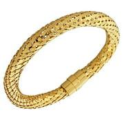 EDFORCE Stainless Steel Yellow Gold-Tone Tube Snakeskin Bangle Bracelet