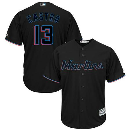 Starlin Castro Miami Marlins Majestic Alternate 2019 Cool Base Player Jersey - Black