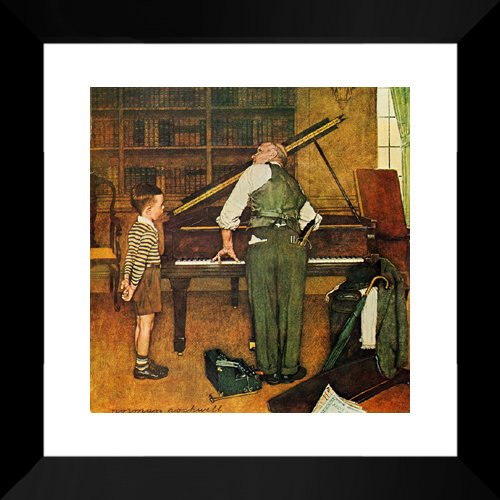 Piano Tuner 20x20 Framed Art Print by Norman Rockwell