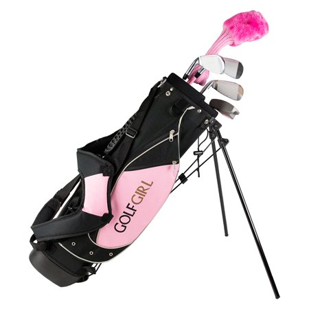 Golf Girl Junior Club Youth Set for Kids Ages 4-7 RH w/Pink Stand (Best Vintage Golf Clubs)