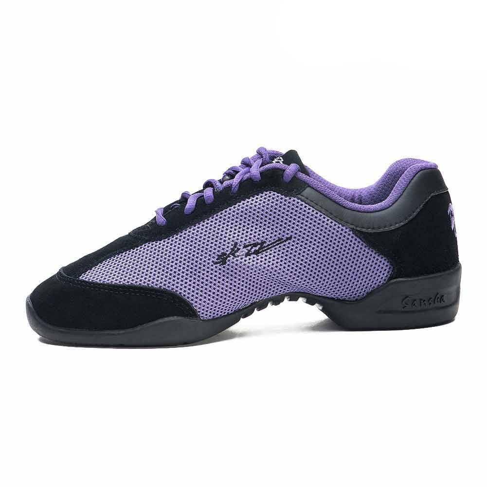 Sansha Adult Black Purple Mesh T-Sole Teresina Low Top Sneakers Womens
