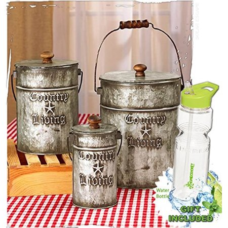 Gift Canister - gift included- set of 3 rustic country living canisters home decor accents + free bonus 23 oz water bottle byhomecricket