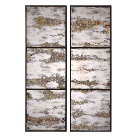 Uttermost 04099 Rahila Set Of (2) Antiqued Panel Oxidized Wall Mirrors - Off White