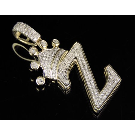 10K Yellow Gold Diamond Crown Initial Z Letter Pendant 0.31 Ct 1.5