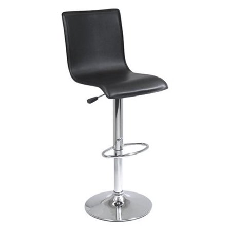 High Back L Shape Air Lift Stool - Black and Metal