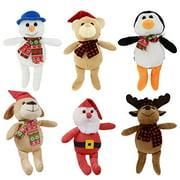 Bundle 6 Items 9 Plush Christmas Friends Reindeer, Santa, Snowmen,Bear, Monkeys, And Penguins