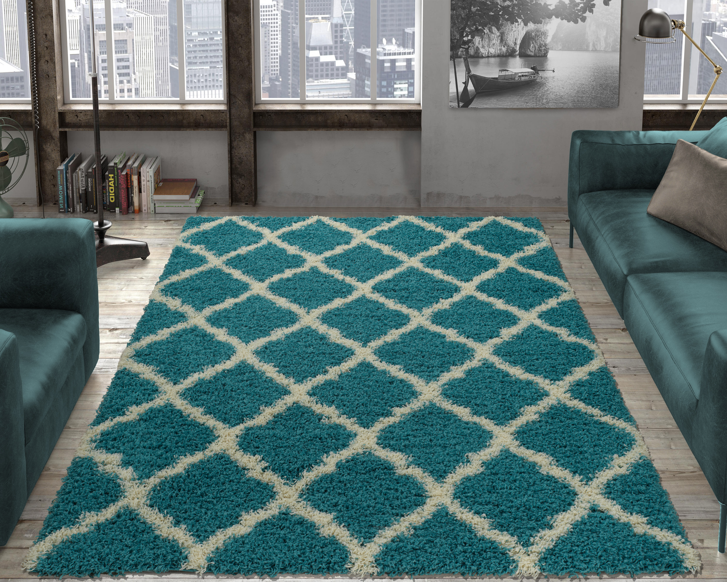 Ottomanson Ultimate Shaggy Contemporary Moroccan Trellis Design Area Rug,  Grey