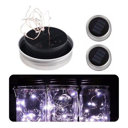 3-pack Solar Powered Light 10-LED Fairy String Mason Jar Lid Lights for Party Garden Decoration