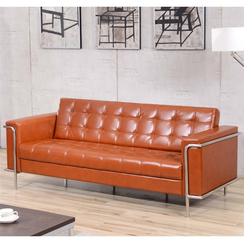 Flash Furniture HERCULES Lesley Series Contemporary Gray Leather Sofa with Encasing Frame