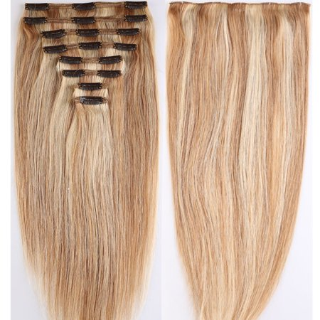 FLORATA Clip in 100% Remy Human Hair Extensions Double Weft 16