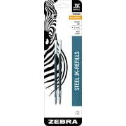 Zebra G-301 Stainless Steel Pen JK-Refill, Fine Point, 0.7mm, Black Ink, 2-Count