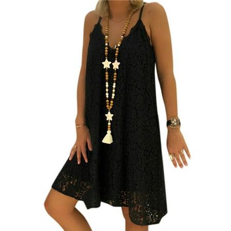 Plus Size Women Sleeveless Lace Mini Dress V Neck Strappy Summer Party ()