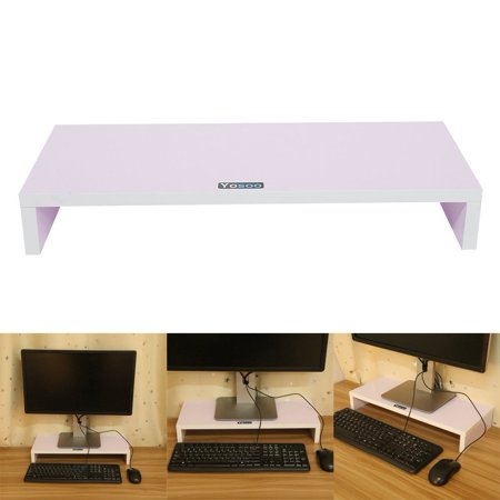 Wooden Monitor Stand Riser,LED LCD Computer Monitor Riser Desktop Organizer Display Shelf for Computer Monitor Laptop TV Printer