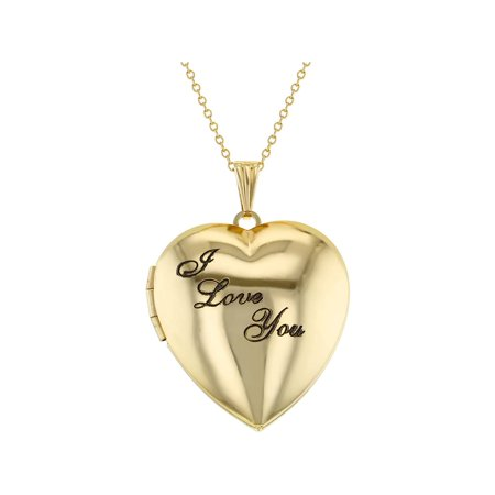 "Gold Tone Family Love Heart Photo Locket ""I Love You"" Pendant Necklace 19"""