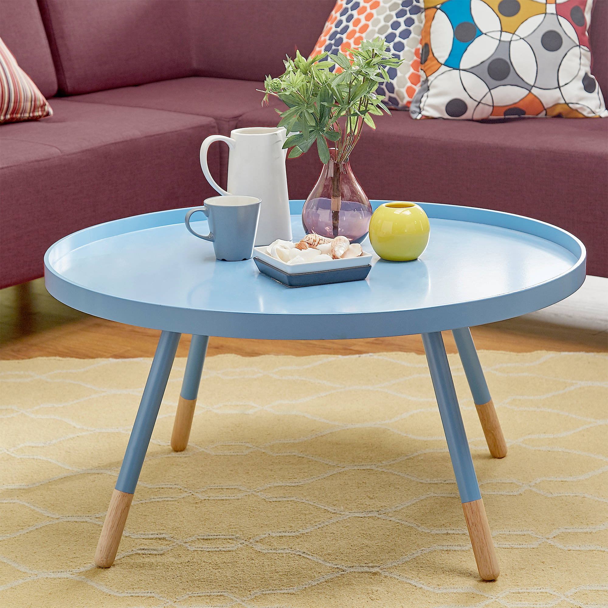 Chelsea Lane Round Tray Coffee Table, Multiple Colors