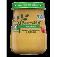 (10 Jars) Beech-Nut Naturals Baby Food Jar, Stage 2, Apple, Cinnamon & Granola, 4 oz