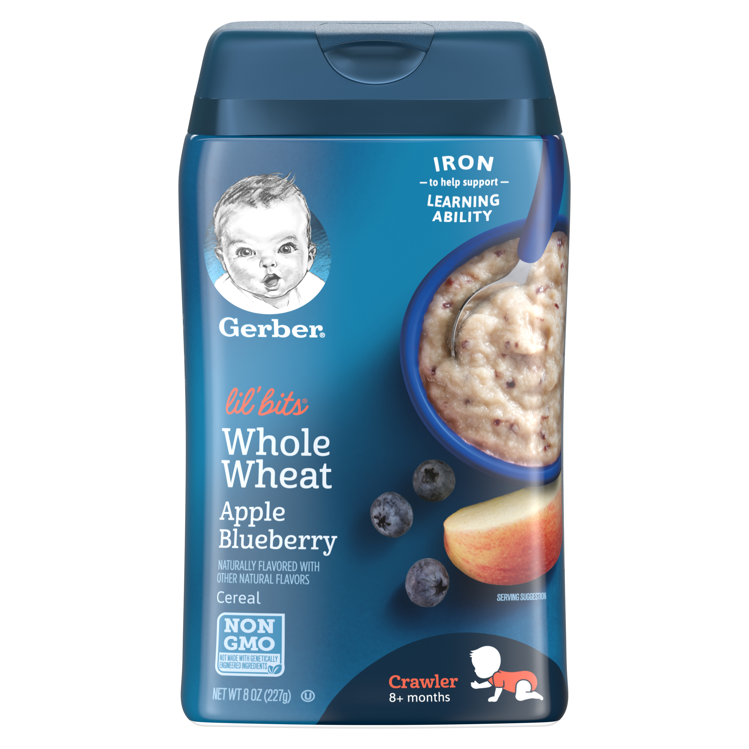 Gerber Lil Bits Whole Wheat Apple Blueberry Baby Cereal, 8 oz (Pack of 6)
