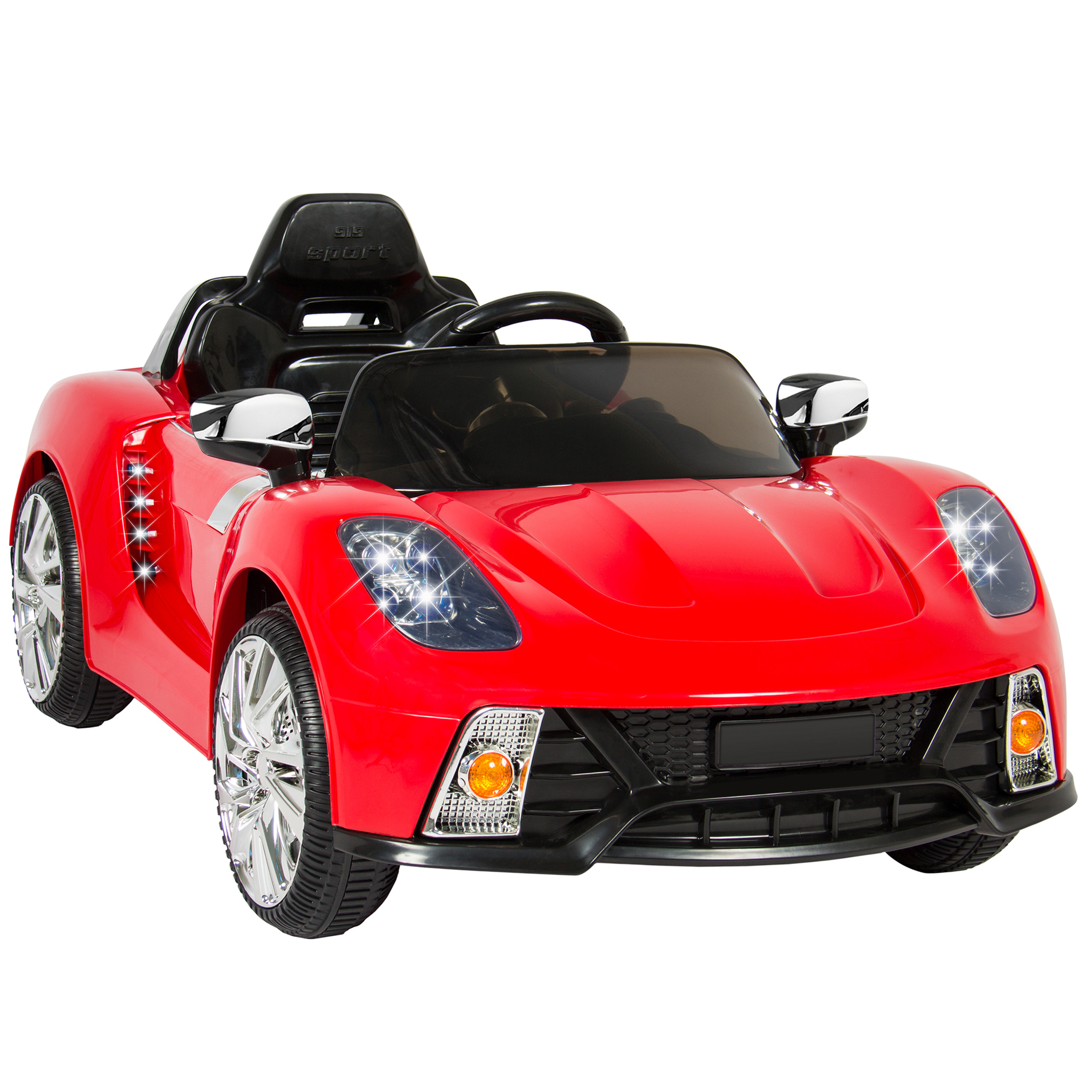 Best Choice Products 12V Kids Battery Powered Remote Control Electric RC Ride-On Car w/ LED Lights, MP3, AUX - Red