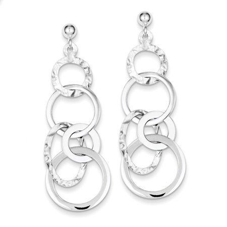 Sterling Silver Polished and Textured Circle Post Dangle Earrings