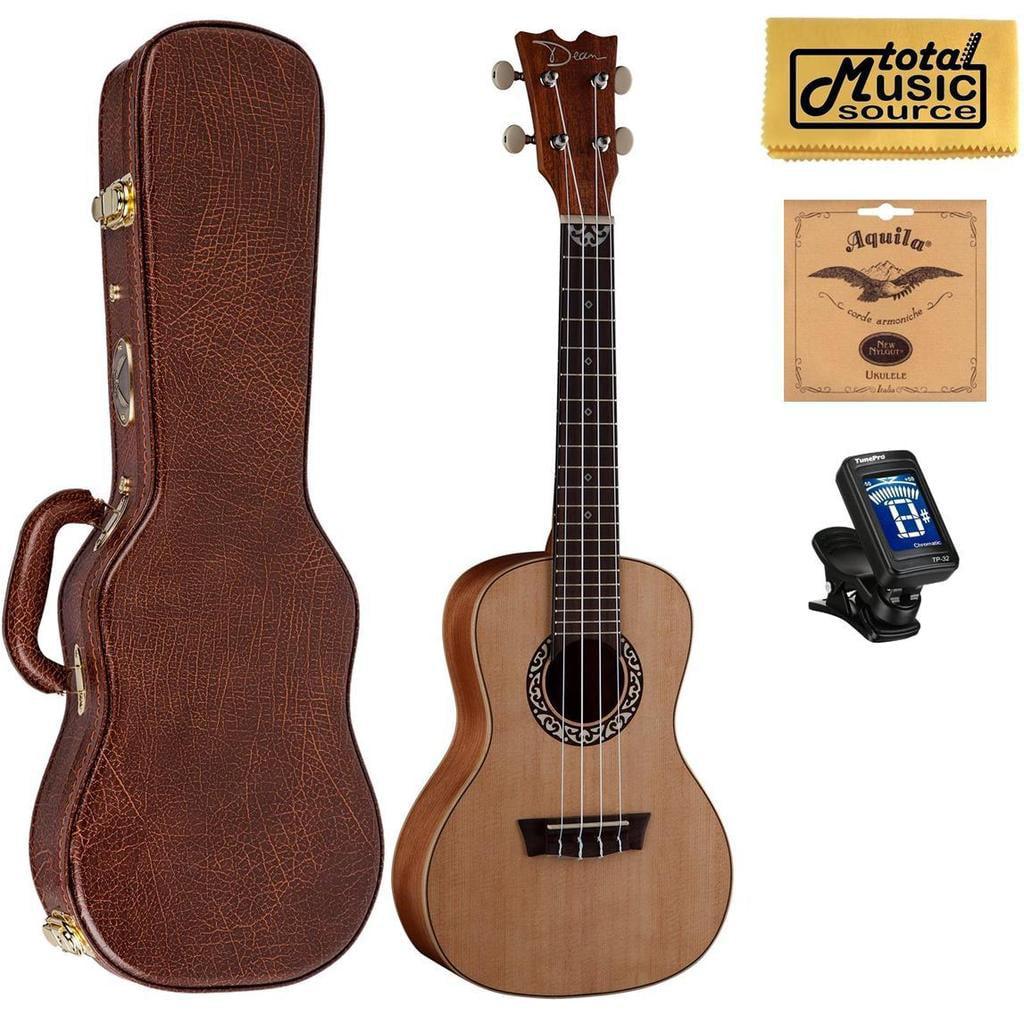 Dean Guitars Concert Spruce Ukulele, Satin Natural w/Hard Case,Tuner,Strings & PC ,UKEDCSPR HCASE