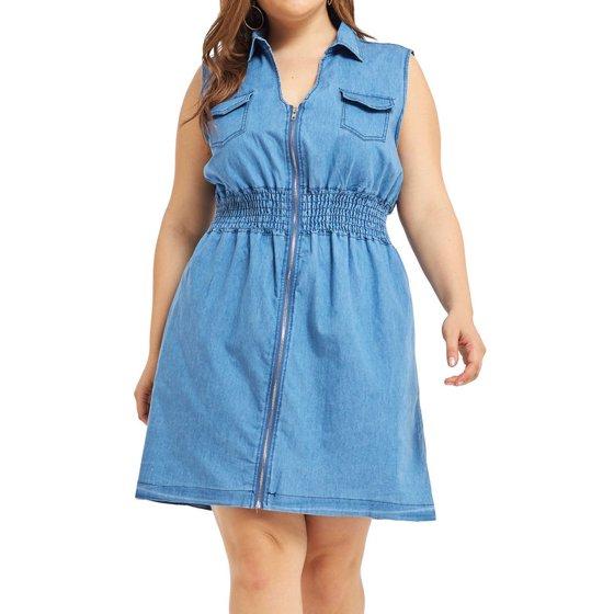LoveVkk Women\'s Plus Size Sleeveless Knee Length Denim Dress