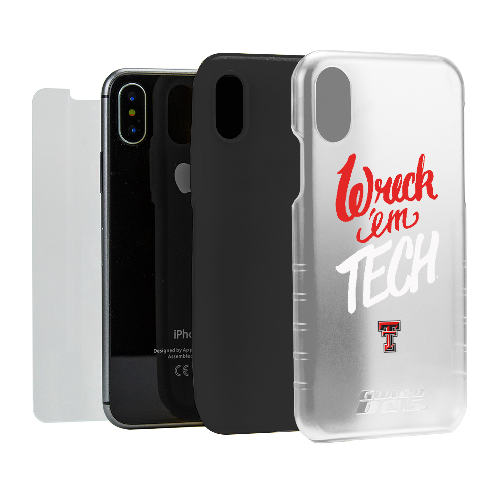 Texas Tech Red Raiders Wreck 'em Tech® Clear Hybrid Case for iPhone X with Guard Glass Screen Protector
