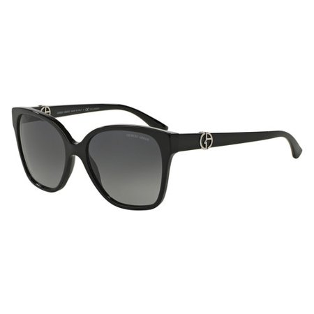 Giorgio Armani AR8061 5017T3 Polarized Black Full Rim Square Sunglasses for Women ()