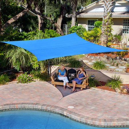 Coolaroo Knitted Shade Cloth - Coolaroo Coolhaven Shade Sail With Hardware; 12' Square; Sapphire