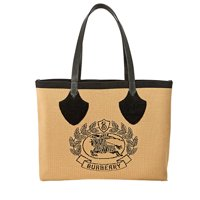 Deals on Burberry Giant Knit Archive Crest Leather-Trim Tote