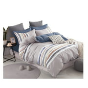 Swanson Beddings Soft Stripes 3-Piece 100% Cotton Duvet Cover Set: Duvet Cover and Two Pillow Shams (Queen)
