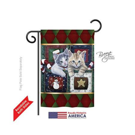Breeze Decor 64097 Christmas Christmas Calendar Kittens 2-Sided Impression Garden Flag - 13 x 18.5 in. - image 1 of 1