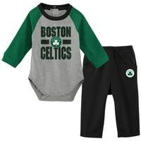 Boston Celtics Newborn & Infant All Net Long Sleeve Bodysuit & Pants Set - Black/Gray