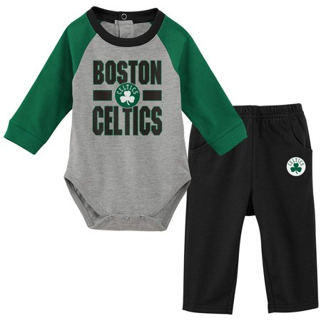 Boston Celtics Newborn & Infant All Net Long Sleeve Bodysuit & Pants Set - Black/Gray