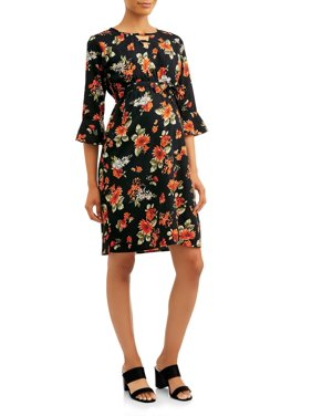 Oh! Mamma Maternity Notched Flutter Sleeve Tie Front Dress-Available in Plus