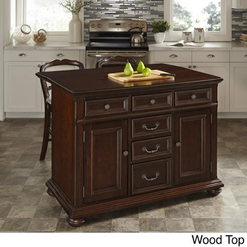 Home Styles Colonial Classic Kitchen Island and Two Stools Wood Top